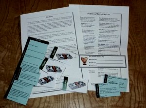 Typical character packet information for a fully interactive murder mystery party