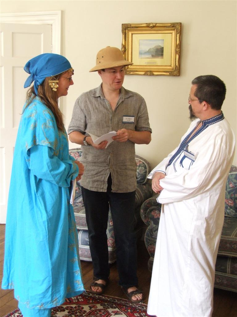 Three characters playing a murder mystery party game